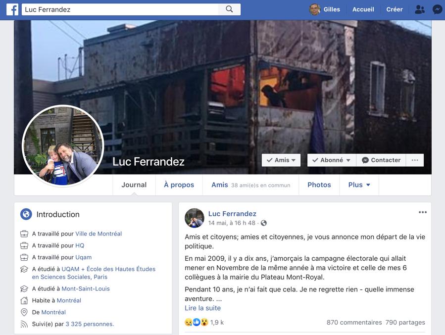 Page Facebook de Luc Ferrandez